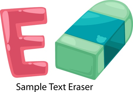 erase: illustration isolated ALPHABET LETTER E-Eraser