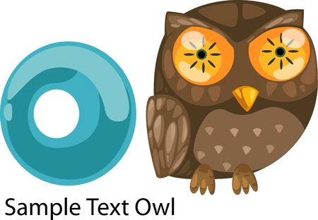 illustration isolated ALPHABET LETTER O-Owl  Vector