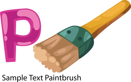 illustration isolated ALPHABET LETTER P-Paintbrush  Vector