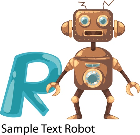 illustration isolated ALPHABET LETTER R-Robot  Vector