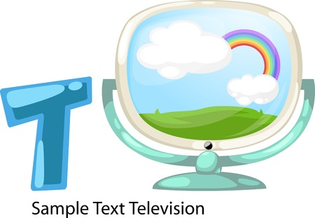 illustration isolated ALPHABET LETTER T-Television  Vector