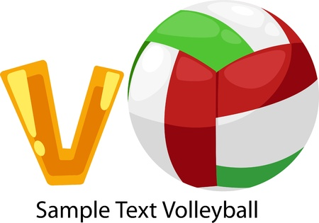illustration isolated ALPHABET LETTER V-Volleyball   Vector