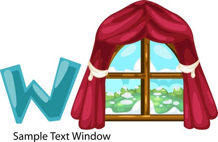 illustration isolated ALPHABET LETTER W-Window  Vector
