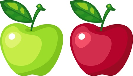 green apple and red apple vector file on White background