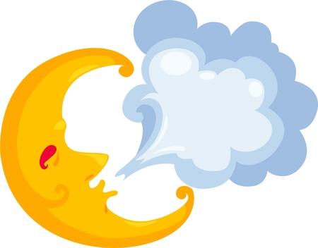 dark cloud: ilustraci�n luna de dibujos animados