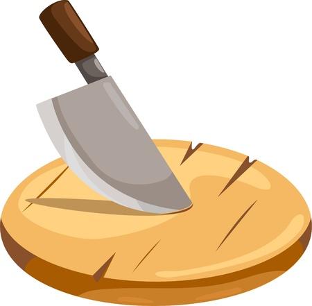 cocina caricatura: ilustración de la placa de corte de madera y cuchillo