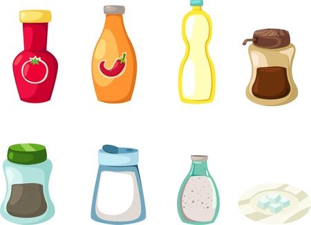 condimentos: ilustraci�n de salsa de chile y salsa de tomate y condimento