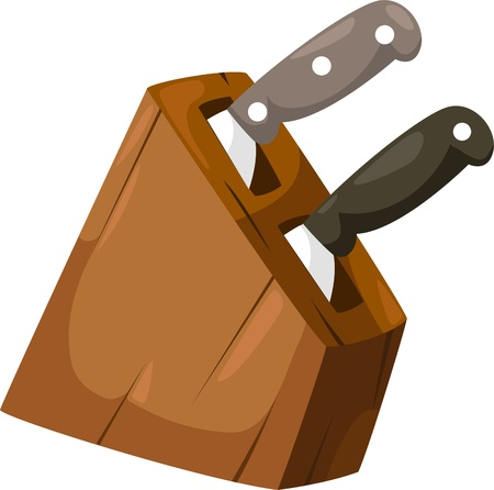 kitchen tools: illustration Wooden and Knife  Illustration