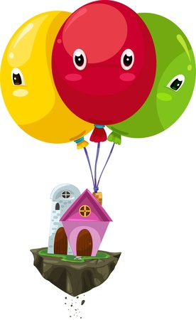 lively: Illustration flying balloon house Illustration