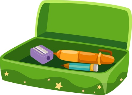 pencil sharpener: illustration Pencil box