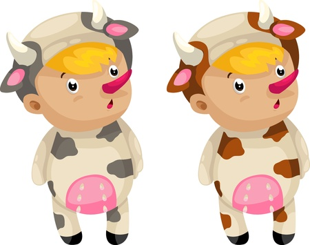 cosplay cow so cute isolated illustrator  Vector
