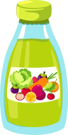 green bottle: Fruit and vegetables juice