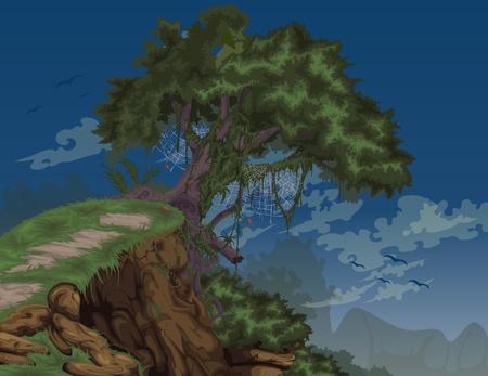 hoe: illustration Beautiful night Landscape Background vector