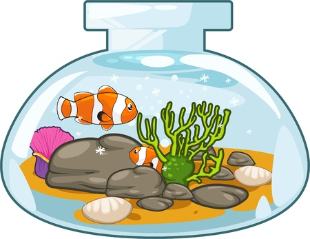 goldfish jump: Illustration Aquarium Illustration
