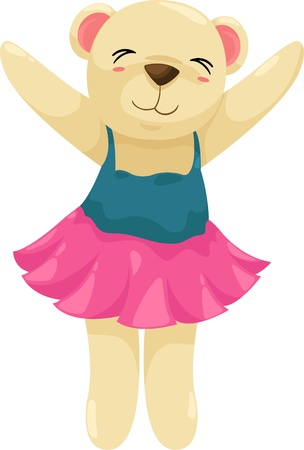 ballet dancer bear isolated illustration  Vector