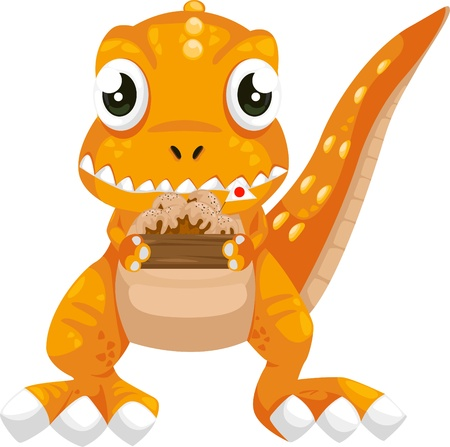 illustration cartoon dinosaur vector  Vector