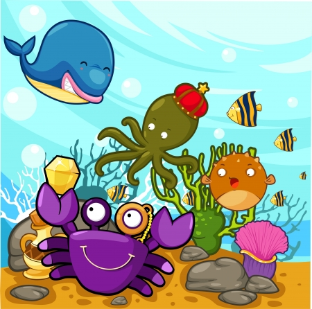 illustration Enjoyed under the sea  Vector