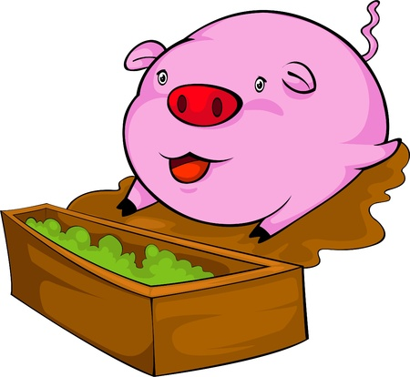 illustration pink pig  vector file Stock Vector - 12702685