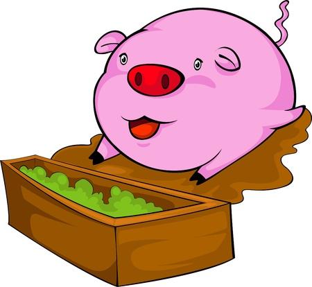 illustration pink pig  vector file Vector