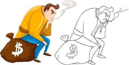 housebreaking: Bandit vector illustration isolated on white background