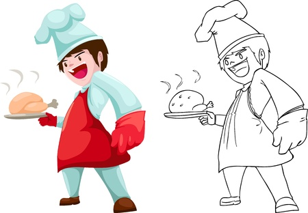 domed tray: chef vector illustration isolated on white background  Illustration