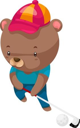 big hat: bear Golfer illustration vector