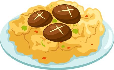 reis gekocht: Omelet te isolierten Vektor-Illustration