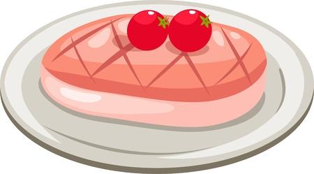 raw pork: meat isolated vector illustration Illustration