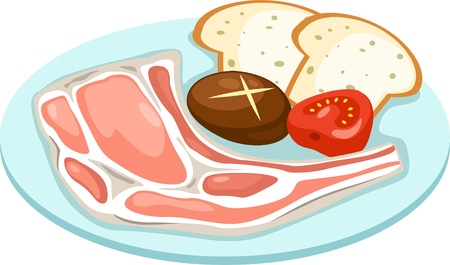 pig roast: meat set isolated vector illustration  Illustration