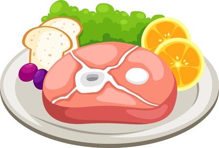 costillas de cerdo: carne que figuran ilustraci�n vectorial aislado