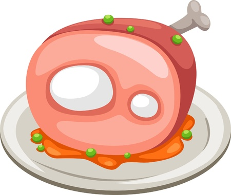 pig roast: meat isolated vector illustration Illustration