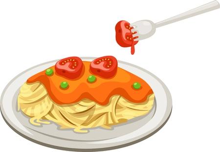 vermicelli: Spaghetti isolated vector illustration