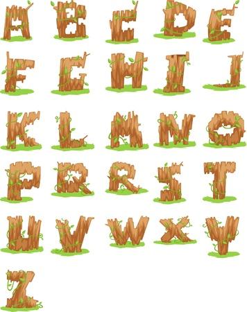 log book: Wood ALPHABET LETTER - A-Z vector