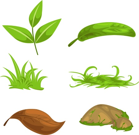 three leaves: Green tea leaves and stone and grass  Illustration
