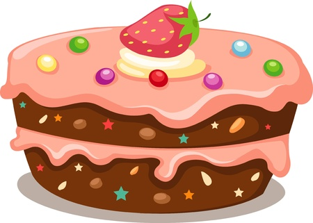 Chocolate cake with strawberry coating  Vector