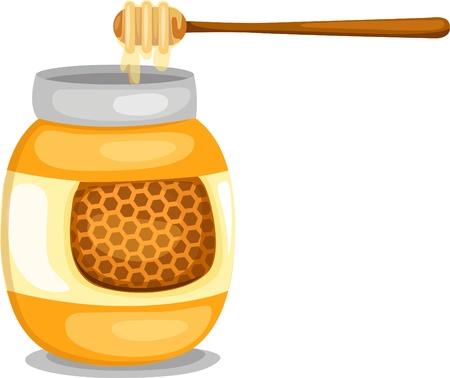 pot miel: Pot de miel et de balancier de miel Illustration