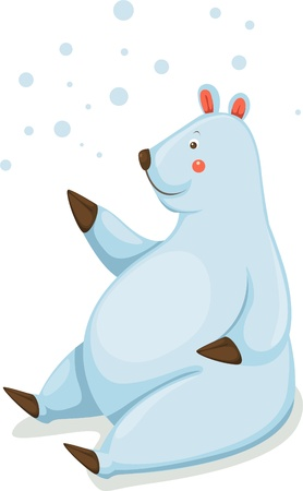 Polar bear with snow Vector
