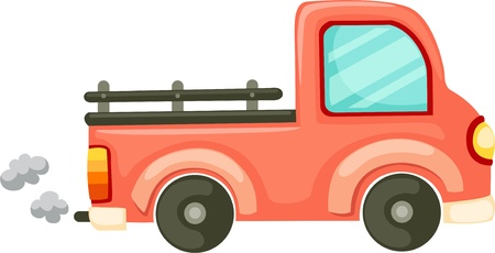 rear wheel: Orange car and Van  Illustration