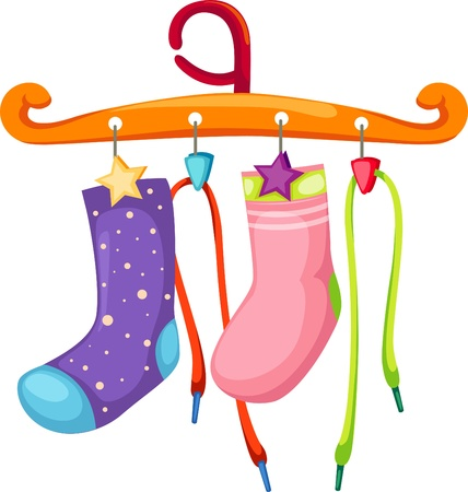 hangers: Socks and the rope shoes with coat hanger