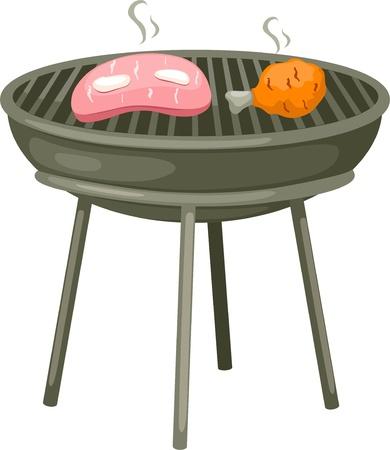 grill meat: Aile de poulet et steak Illustration
