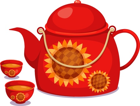 blue white kitchen: Tea pot with cup of tea