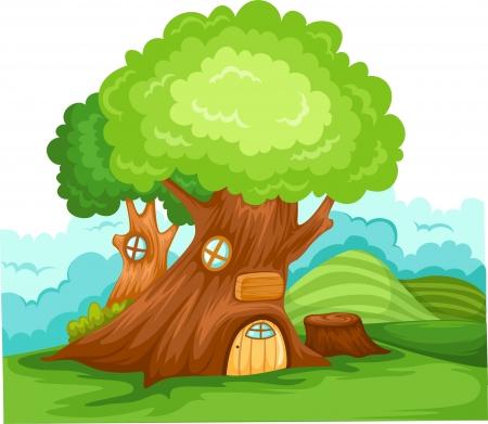 ¡rboles con pajaros: vector de la casa del árbol