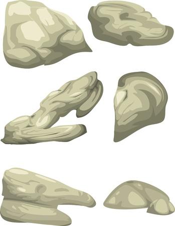 boulder rock: illustration of isolated boulders vector file