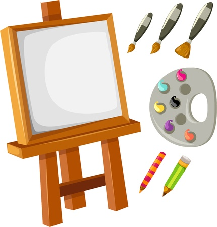 blank canvas: illustration isolated Artist drawing accessories vector