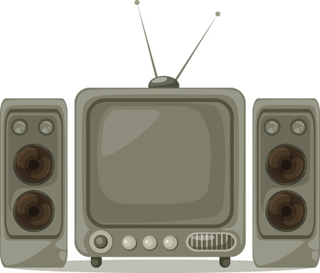 illustration isolated TV and Loudspeaker vector Vector