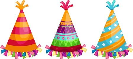 gorros de fiesta: Partido sombrero aislados ilustraci�n vectorial