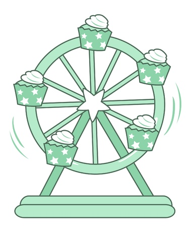 cupcake Ferris wheel illustration of isolated on white background  Vector