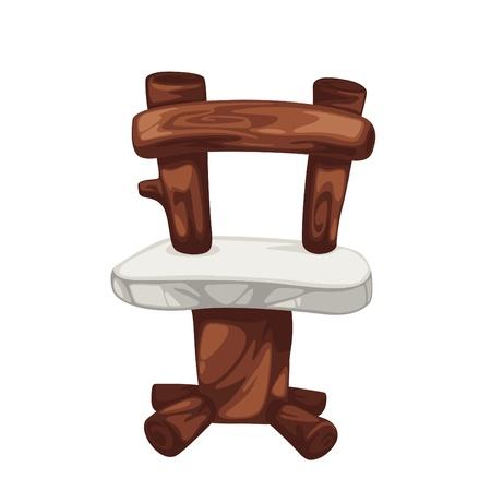 sideline: madera prehist�rica silla aislada de la ilustraci�n