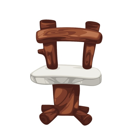 wood chair: wood chair prehistoric isolated of illustration