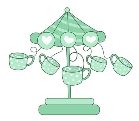 illustration carrousel à café de isolé sur fond blanc